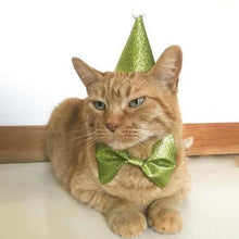 Load image into Gallery viewer, Cat Clothes, Cat Birthday Costume Featuring a Cat Party Hat and Bow Tie with an Elastic Band