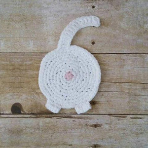 White Cat Butt Coaster, Handmade Cat Coasters Perfect as Gifts for Cat Lover