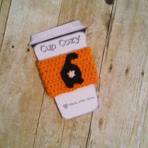 Handmade orange cat mug cozy, great as a cute cat themed gift!