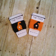 Load image into Gallery viewer, Handmade black and orange cat butt cosies, perfect as cute cat gifts for cat lovers