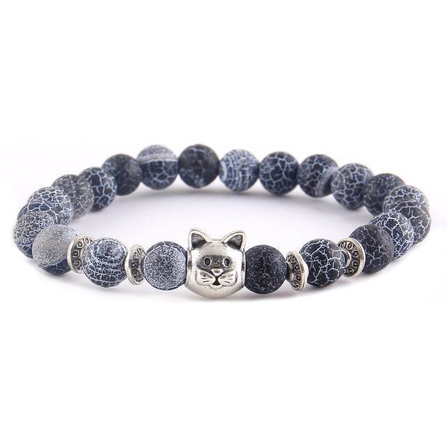 Unique Gifts for Cat Lovers, Cat Charm Bracelet with Blue Stone Beads