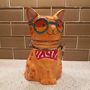 Gifts for Cat Lovers, Ceramic Cat Shaped Jar for Treats and Cookies