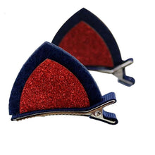 Load image into Gallery viewer, These red and blue cat ear hair clips make for the perfect Halloween accessory.