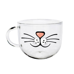 This funny cat coffee mug is decorated with a cute glass nose and whiskers and shows you how you'd look as a cat.