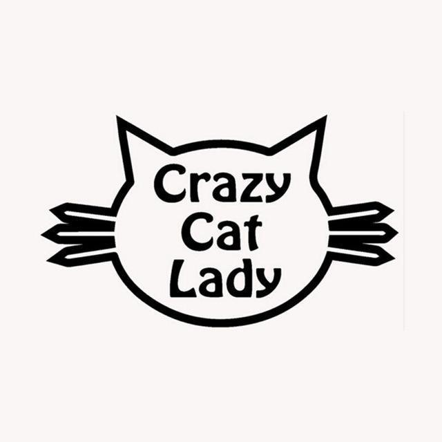 Funny Things for Cat Lovers, Cat Face Sticker Featuring the Phrase Crazy Cat Lady