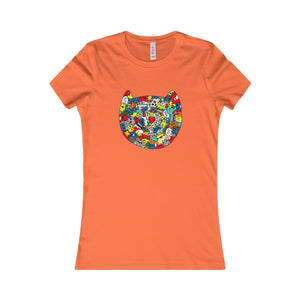 Cat Lovers T-Shirt, Cat Face Shirt Featuring a Colorful Cat Printed On the Front