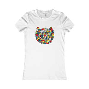 Clothes with Cats for cat Lovers, Funny Cat Face T-Shirt Featuring a Colorful Cat Face Printed Across the Front