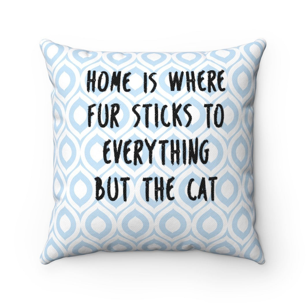 This decorative cat pillow has the text