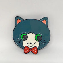Load image into Gallery viewer, Cat Brooch Featuring a Gray Tabby Cat Wearing a Bow Tie