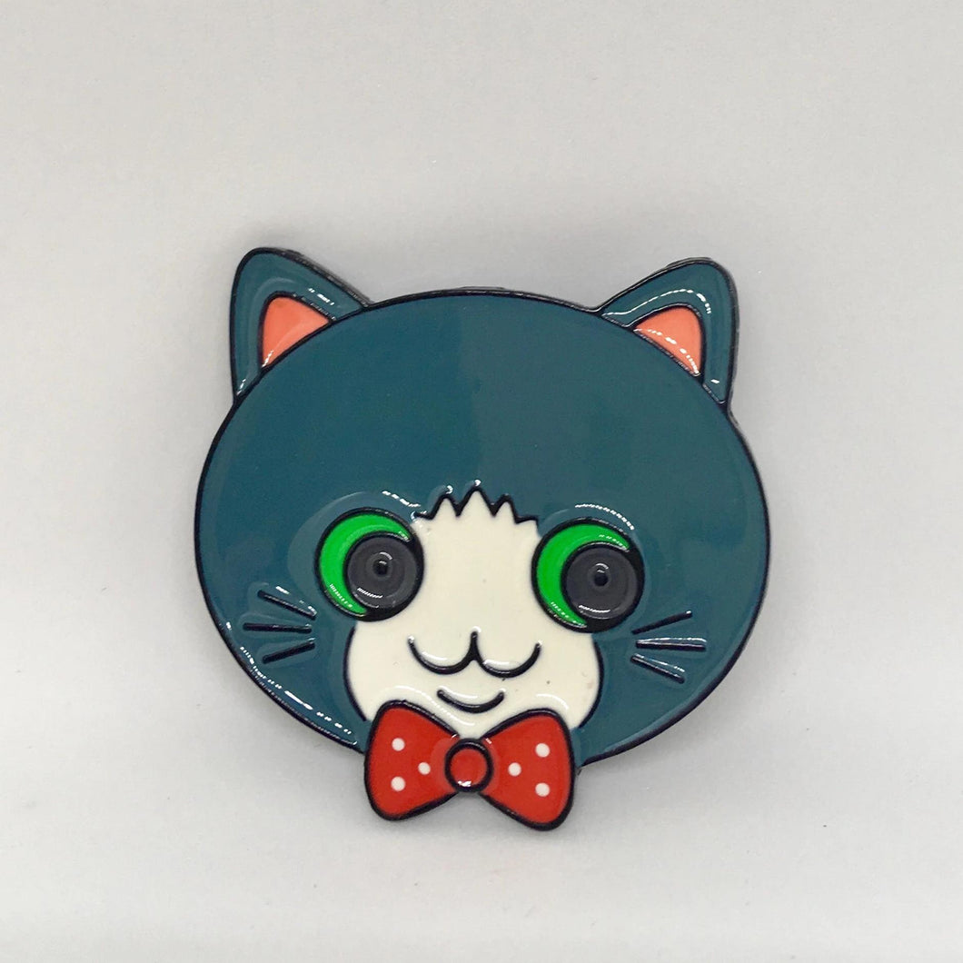 Cat Brooch Featuring a Gray Tabby Cat Wearing a Bow Tie