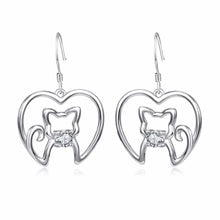 Load image into Gallery viewer, Refresh your jewelry cat collection with these beautiful sterling silver cat earrings.