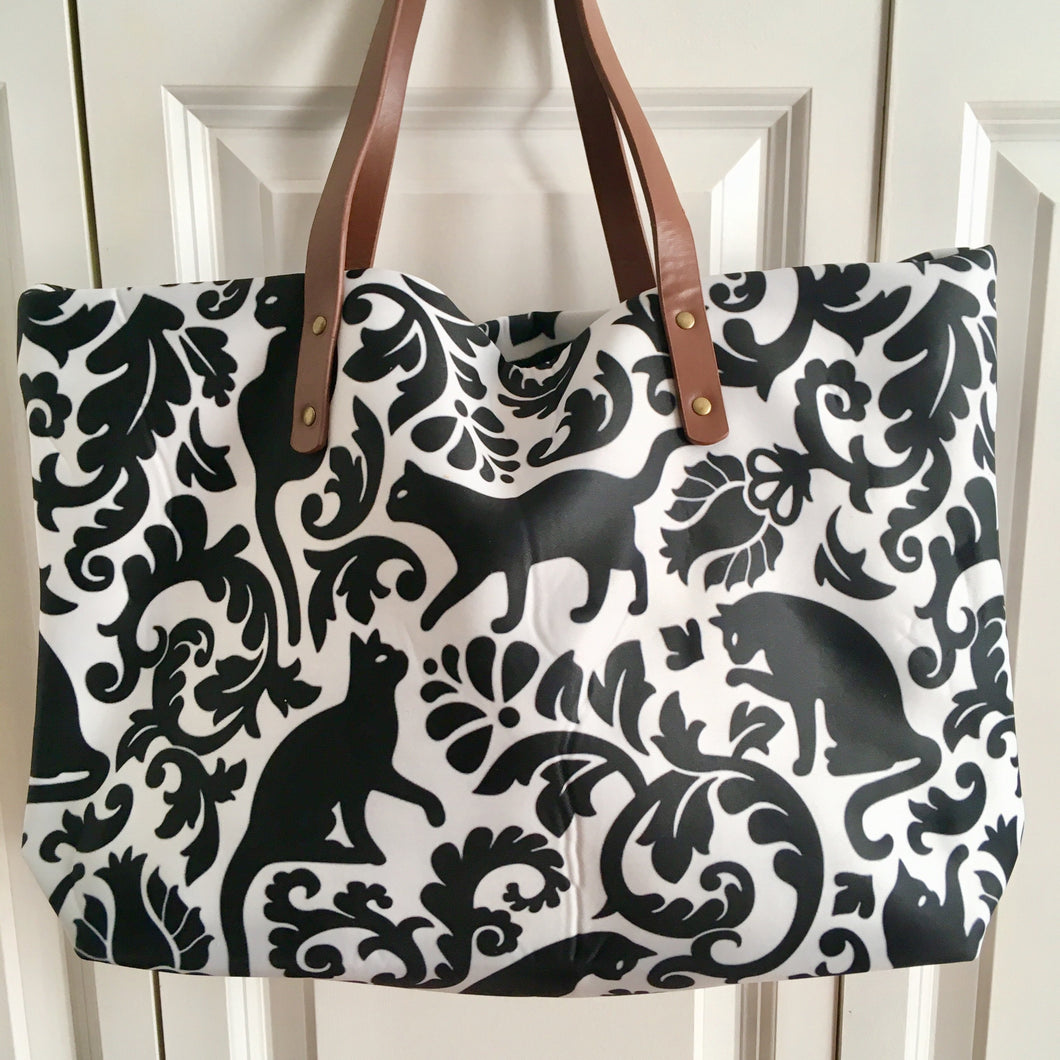 Cat Handbag for Women Decorated with Black Cats and Flowers