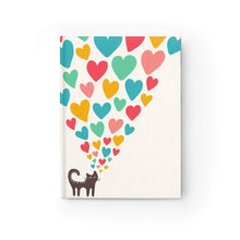 Load image into Gallery viewer, Cst notepad gifts featuring a black cat and colorful hearts printed on a glossy white hard cover
