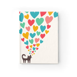 Cst notepad gifts featuring a black cat and colorful hearts printed on a glossy white hard cover