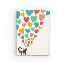 Load image into Gallery viewer, Cute and unique cat notebook featuring 128 single line pages and decorated with a black cat and hearts printed on a glossy white hard cover