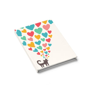 Cat notebook featuring a black cat and colorful hearts printed on a glossy white hard cover