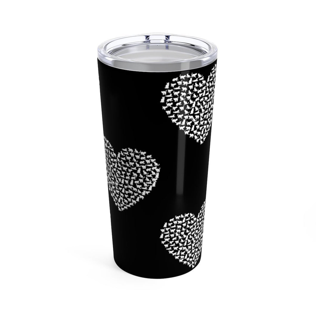 This cat tumbler features white cats printed in a heart shape on a black background.