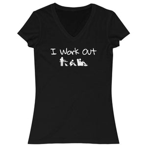 Gifts for Crazy Cat Lovers, Funny Cat T-Shirt Featuring the Words I Work Out and A Stick Figure Petting Playing and Feeding A Cat Printed On the Front