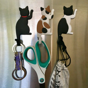Cat Magnets with Tails Used As Hooks