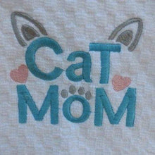 Load image into Gallery viewer, Crazy Cat Lady Gifts, Cat Mom Kitchen Towel Decorated with Hand Embroidered Paw Print and Cat Ears