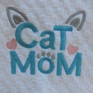 Crazy Cat Lady Gifts, Cat Mom Kitchen Towel Decorated with Hand Embroidered Paw Print and Cat Ears