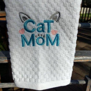 Cat Gifts for Her, Cute Handmade Cat Kitchen Towel with Cat Mom and Cat Ears Embroidery