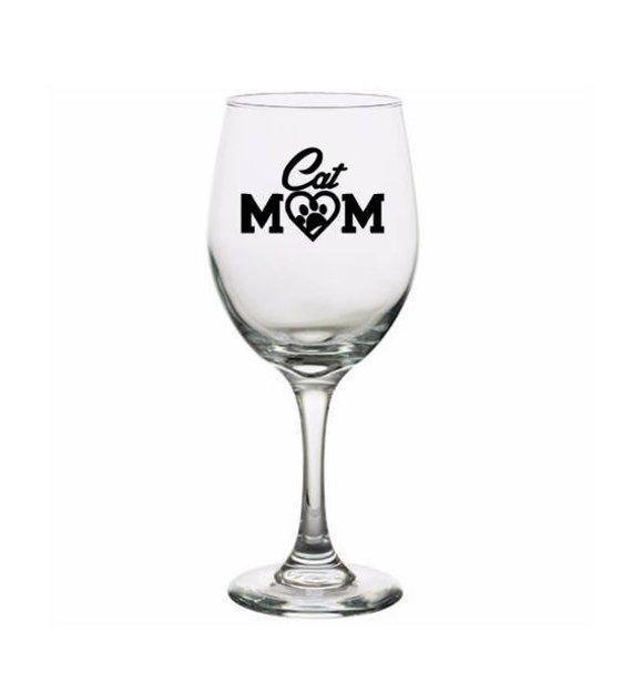 Cat Gifts for Her, Cute Cat Wine Glasses, Cat Mom Wine Glass