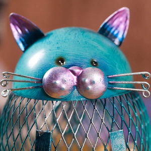 This cat coin bank features beautful hand crafted details, such as a cat's ears, whiskers, nose and eyes.