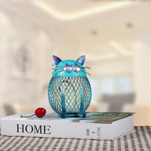 Load image into Gallery viewer, This unique metal kitty bank is painted in a vibrant blue color that stands out and gives your space an artistic touch.