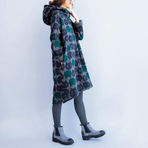 Clothes with Cats On, Cat Print Hooded Sweater Dress