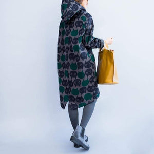 Cat Themed Apparel, Cat Print Hooded Sweater Dress