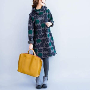 Cat Themed Clothing, Cat Print Hooded Sweater Dress