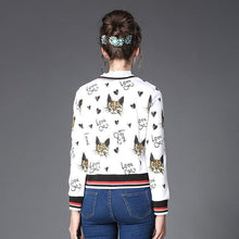 Load image into Gallery viewer, Cat Themed Clothing, Cat Print Jacket Featuring Cute Cat Faces and the Text Love Cats