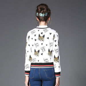 Cat Themed Clothing, Cat Print Jacket Featuring Cute Cat Faces and the Text Love Cats