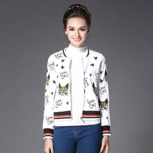 Load image into Gallery viewer, Clothes with Cats for Cat Lovers, Cat Print Jacket with the Text Love Cats and Cute Cat Faces Printed on White Fabric