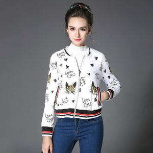Clothes with Cats On Them, Cat Print Jacket with Cute Cat Faces