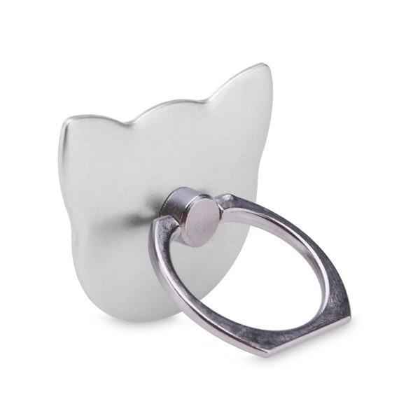 Cat phone holder with a silver finish