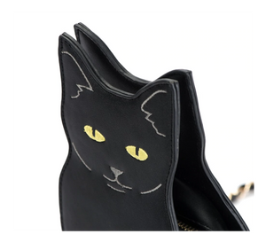 Cat Shaped Purse Made of Black PU Leather