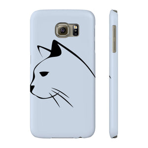 Samsung kitty phone case featuring a black cat sketch on a light gray background.
