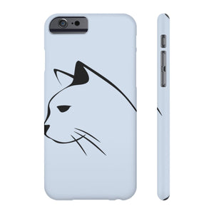 iPhone phone case with a cat silhouette printed on a light gray background.