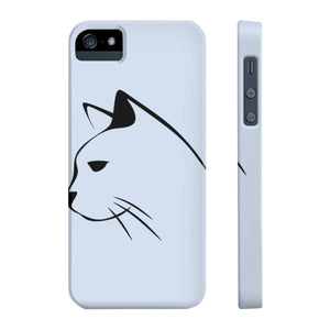 Unique iPhone cat phone cover featuring a black cat silhouette on a light gray background.