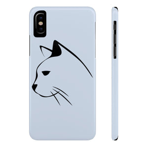 Cat phone case for iPhone X featuring a black cat sketch on a light gray background.