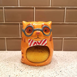 Cat Kitchen Accessories, Cat Sponge Holder Shaped Like a Golden Tabby Cat