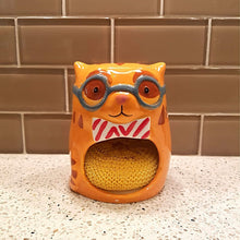 Load image into Gallery viewer, Cat Themed Kitchen Accessories, Cat Sponge Holder In the Shape of a Golden Tabby Cat
