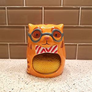 Cat Themed Kitchen Accessories, Cat Sponge Holder In the Shape of a Golden Tabby Cat
