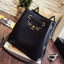 Load image into Gallery viewer, Black cat tote decorated with golden whiskers, nose, and 3D kitty cat ears.
