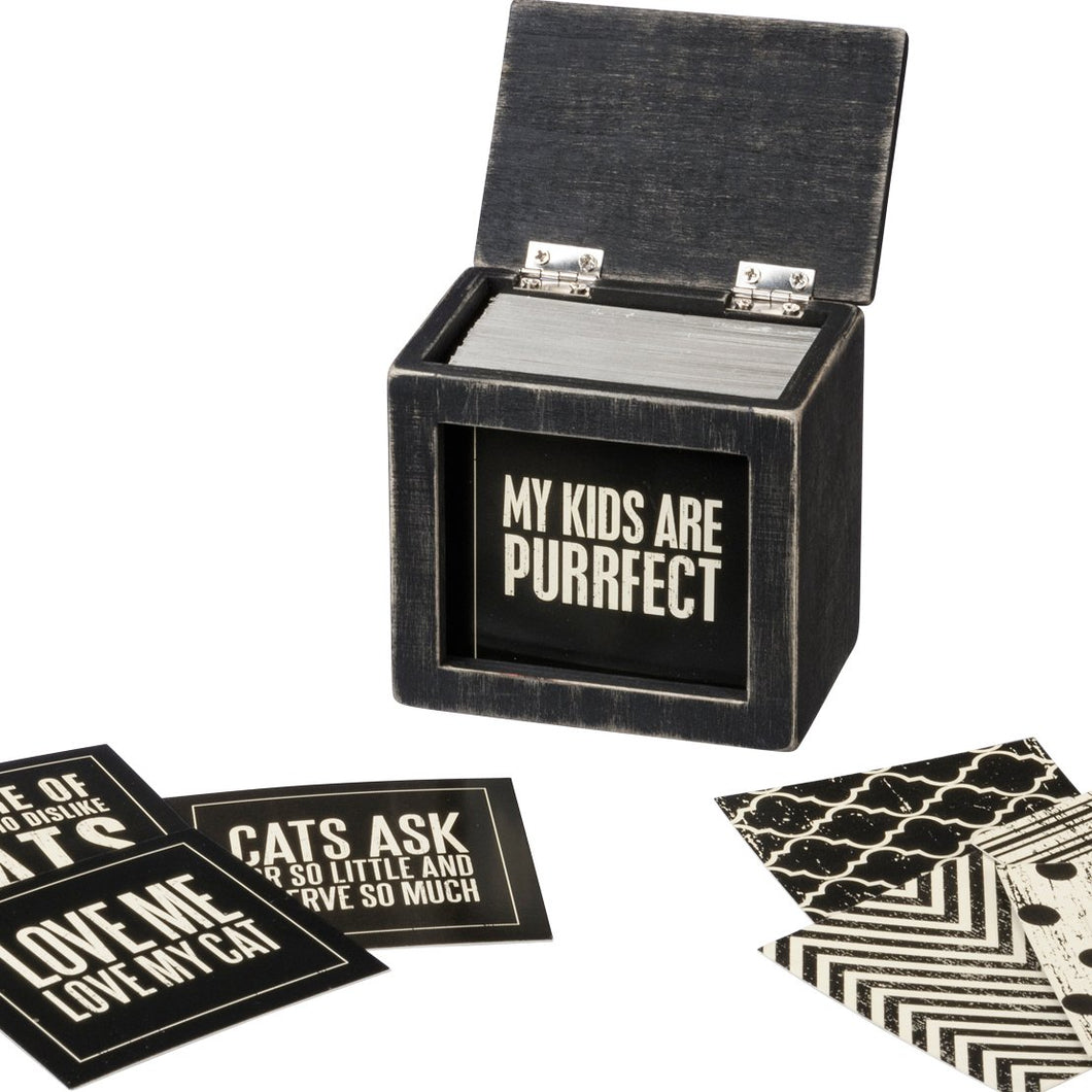 Unique Gifts for Cat Lovers, Funny Cat Wisdom Cards in a Wooden Box