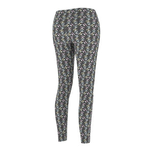 Clothes With Cats On Them, Cats With Glasses Leggings Made from a Soft Grey Fabric
