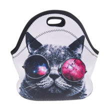 Load image into Gallery viewer, Cat Lunch Tote Featuring A Cat With Glasses