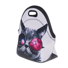 Load image into Gallery viewer, Cat Lunch Bag for Women Featuring a Cat Wearing Glasses Printed On A White Fabric
